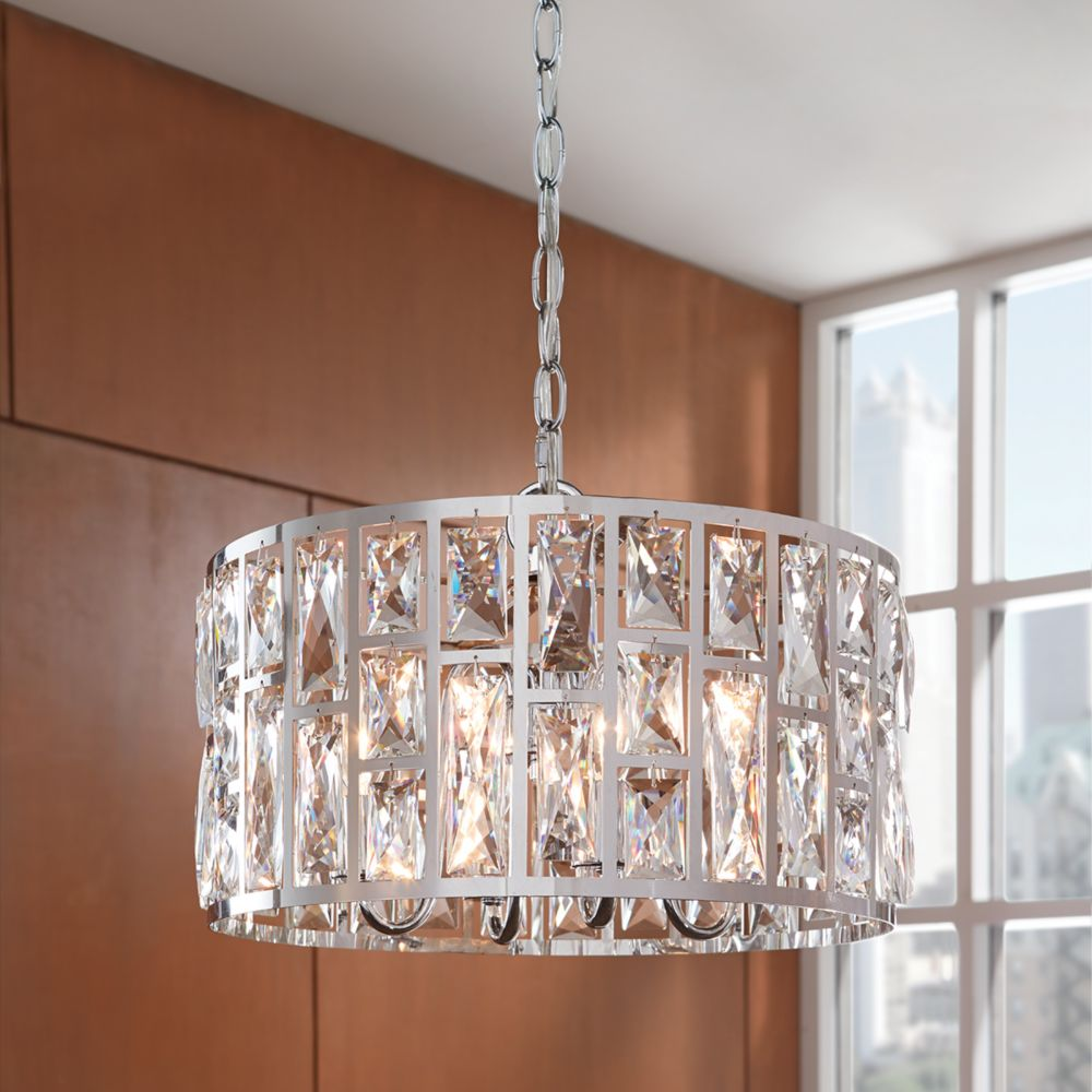 Chandeliers modern rustic more the home depot canada kristella collection 4 light chandelier in chrome with crystals aloadofball Gallery