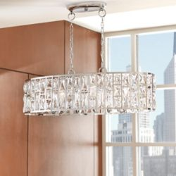Home Kristella Collection 6-Light Chrome Oval Chandelier