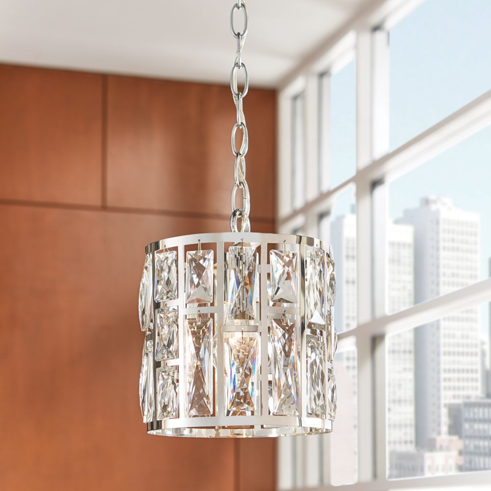 Home Decorators Collection Kristella 1-Light Chrome Chandelier with Crystal Accented Shade