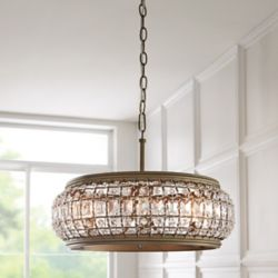 Home Decorators Collection Goldbach 4-Light Brass Island Pendant with Crystal Accented Shade