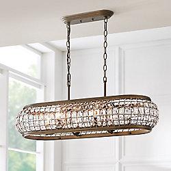 Home Decorators Collection Luminaire suspendu Goldbach pour îlot de cuisine, laiton, 6ampoules, diffuseur ornementé de cristal