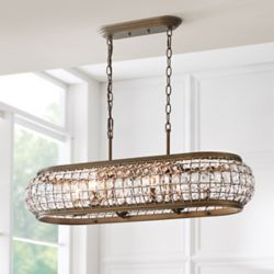 Home Decorators Collection Goldbach 6-Light Brass Island Pendant with Crystal Accented Shade
