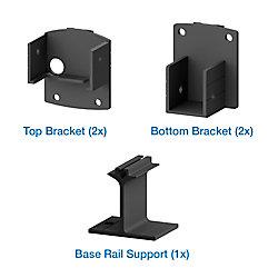 Peak Products Ensemble de supports de barreaux AquatinePLUS pour clôture de piscine, noir