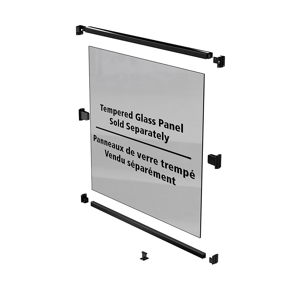 AquatinePLUS 44-inch Pool Fence Rail Kit for Glass Panels- Black