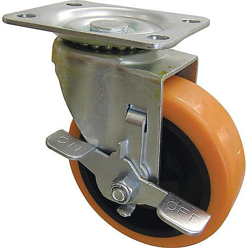Roulette pivotante orange de 102 mm TPU avec capacité de charge et frein de 136 kg
