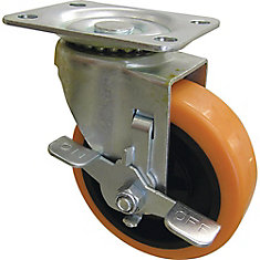 4 inch Orange TPU Swivel Caster with 300 lb. Load Rating and Brake