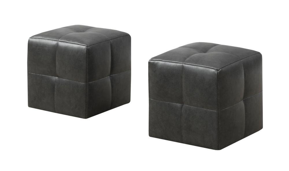 Monarch Specialties Ottoman - 2Pcs Set / Juvenile/ Charcoal Grey Leather-Look