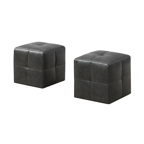 Monarch Specialties Ottoman - 2-Piece Set / Juvenile/ Charcoal Grey Leather-Look