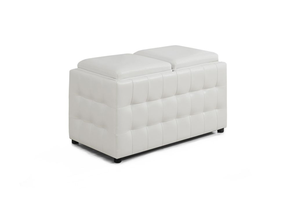 Ottoman - 32 Inch L / Storage Trays / White Leather-Look