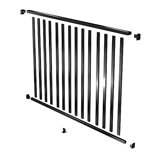 Peak Products AquatinePLUS 6 ft. W x 4 ft. H Aluminum Pool Fence Rail and Picket Kit in Black