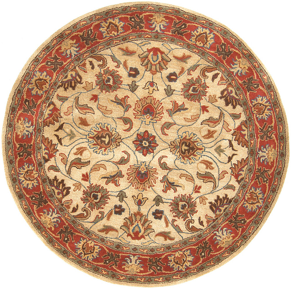 Chaka rouge 6 ft. X 6 ft. rond tapis interieur