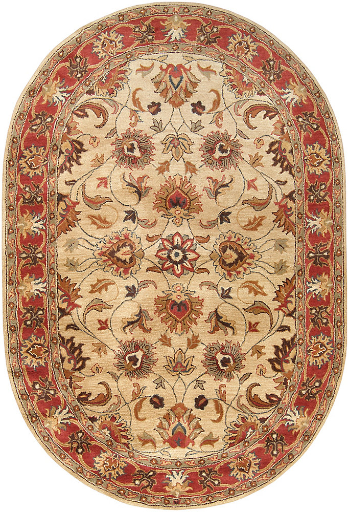Chaka rouge 8 ft. X 10 ft. ovale tapis interieur