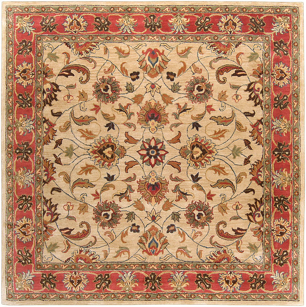 Chaka rouge 9 ft. 9 in. X 9 ft. 9 in. carre tapis interieur