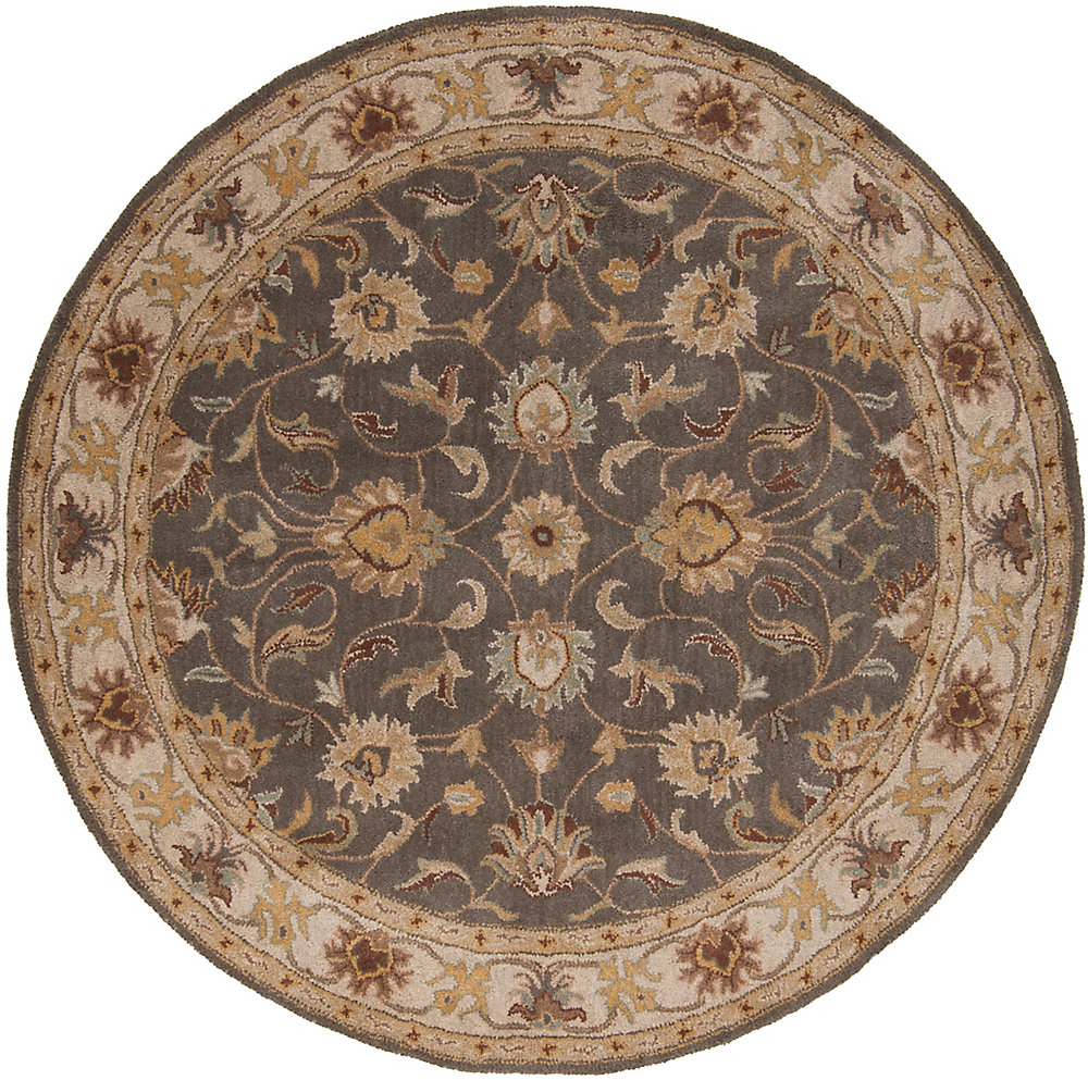 Chaka gris fonce 9 ft. 9 in. X 9 ft. 9 in. rond tapis interieur