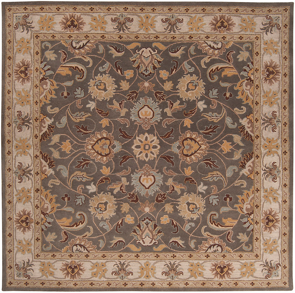 Chaka gris fonce 9 ft. 9 in. X 9 ft. 9 in. carre tapis interieur
