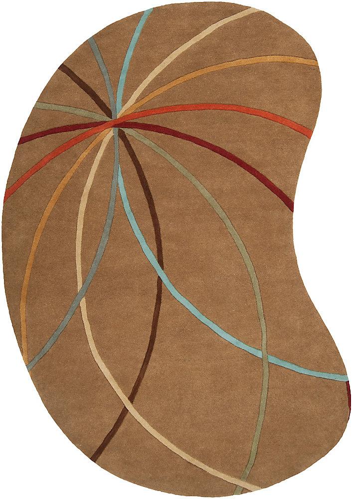 Obihiro chocolat 8 ft. X 10 ft. forme de rein tapis interieur
