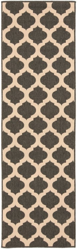 Home Decorators Collection Aggie Black 2 Feet 3 Inch x 11 Feet 9 Inch Indoor/Outdoor Runner