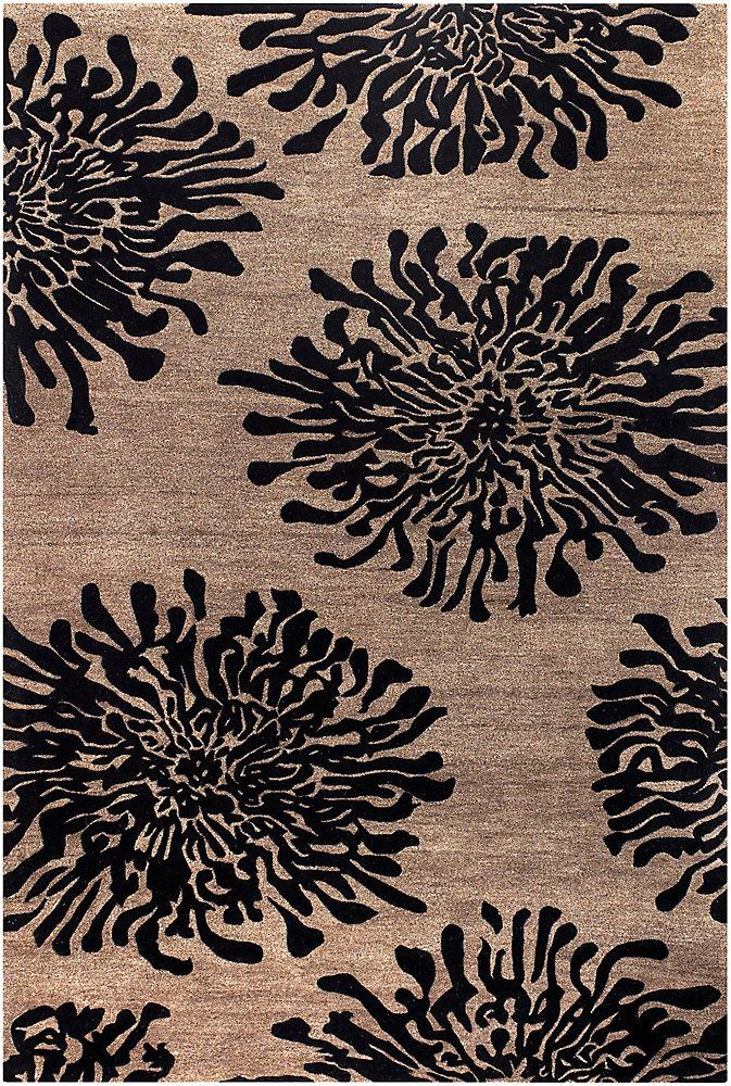 Aelandra noir 2 ft. X 3 ft. tapis interieur