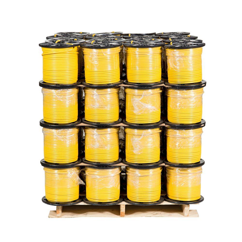 Câbre électrique en cuivre Romex SIMpull NMD90 � 12/2 Jaune 150 m � Palette de 48 bobines pour en...