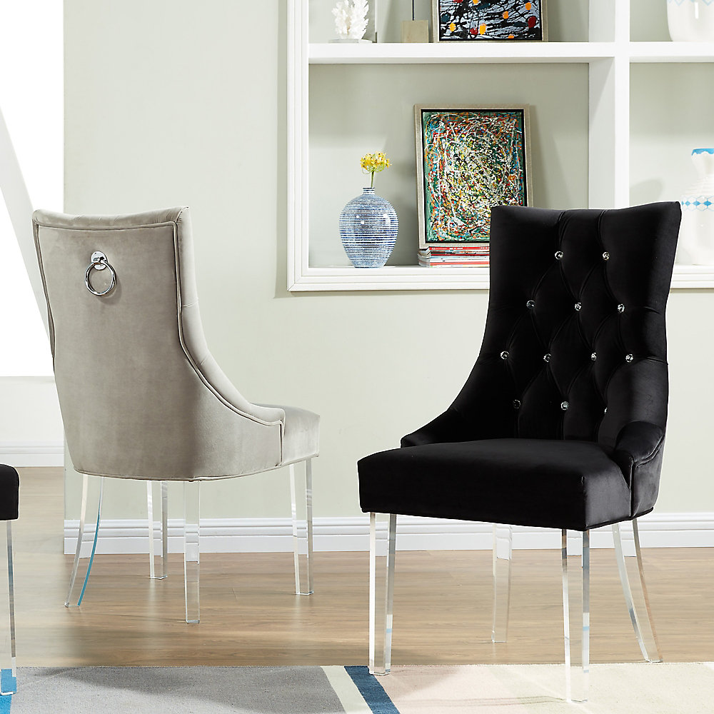 Cavalli Occasional Velvet Accent Chair in Grey with Solid Pattern