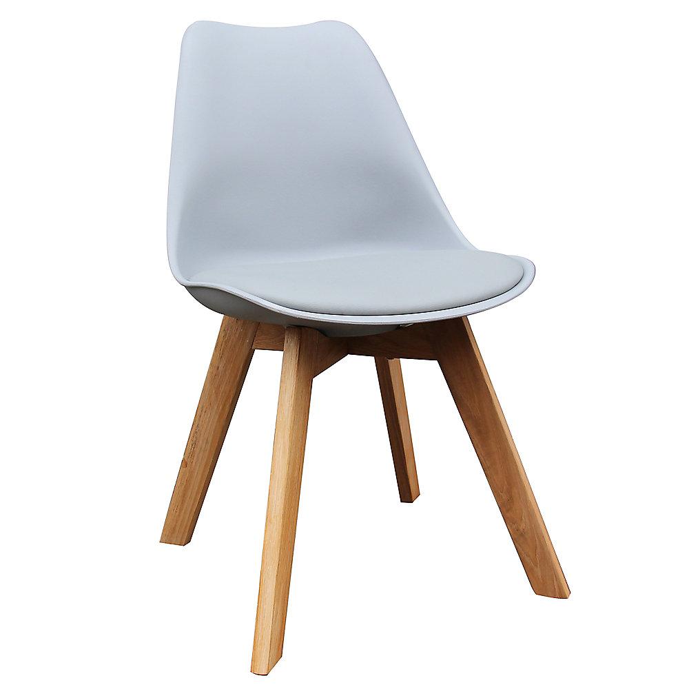 Chaise Parson sans accoudoirs Novita, bois massif gris, siège cuir gris