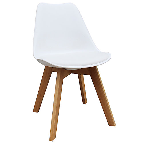 Novita Solid Wood Maple Parson Armless Dining Chair With White Leather Seat