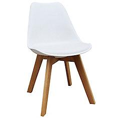 Chaise de salle à manger Novita en bois massif d'érable sans accoudoirs Parson avec siège en cuir Te Leather