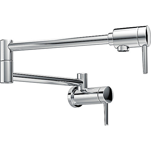 Wall-Mount Pot Filler Faucet with Lever Handle in Chrome