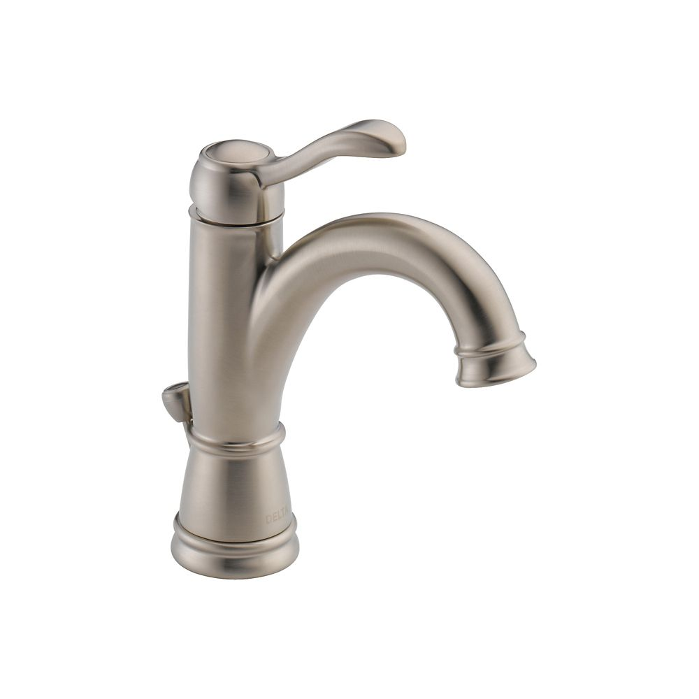 Delta Single Hole 1-Handle Mid Arc Bathroom Faucet in Brushed Nickel with Lever Handle
