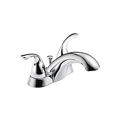 Centerset (4-inch) 2-Handle Low Arc Bathroom Faucet in Chrome with Lever Handles