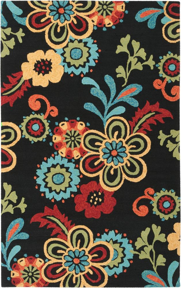 Home Decorators Collection Santiago  Black 3  ft. 3-inch x 5  ft. 3-inch Indoor/Outdoor Area Rug