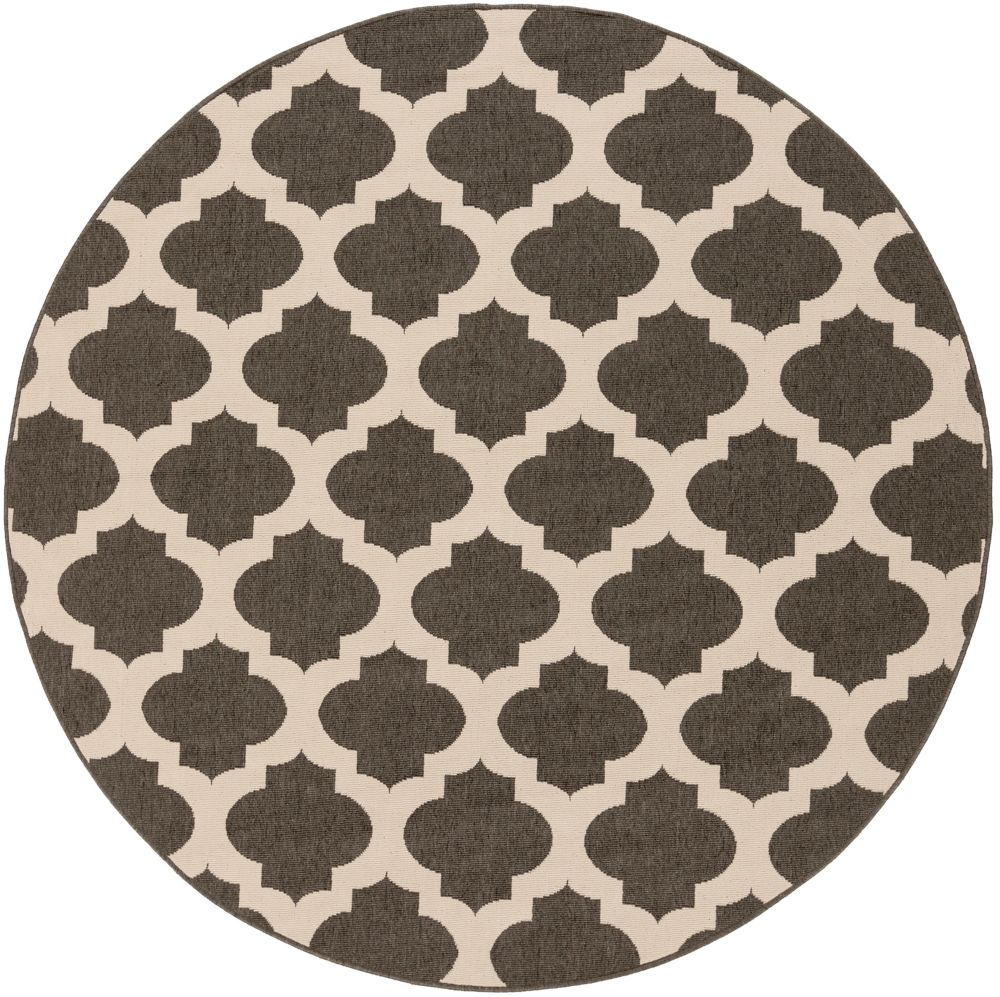 Home Decorators Collection Aggie Black 7 Feet 3 Inch x 7 Feet 3 Inch Round Indoor/Outdoor Area Rug