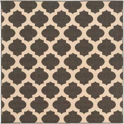 Home Decorators Collection Aggie noir 8 ft. 9 in. X 8 ft. 9 in. carre espace exterieur tapis