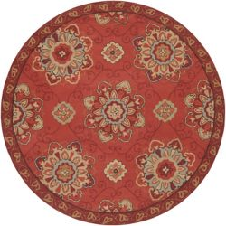 Home Decorators Collection Kelly Red 8 Feet x 8 Feet Round Indoor/Outdoor Area Rug