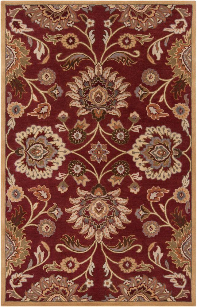 Home Decorators Collection Cambrai Burgundy 9 Feet x 12 Feet Indoor Area Rug
