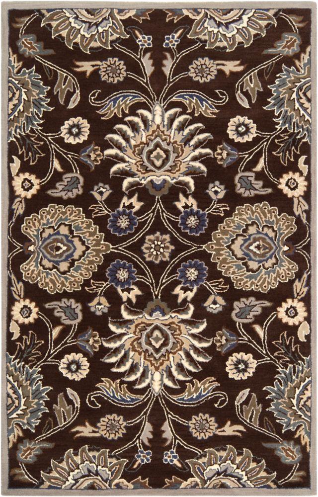 Home Decorators Collection Cambrai Chocolate 5 Feet x 8 Feet Indoor Area Rug
