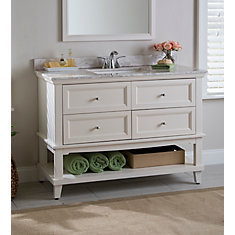 Teasian 49-inch W 4-Drawer Freestanding Vanity in Off-White With Marble Top