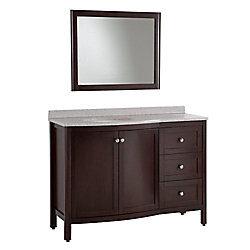 St. Paul Madeline 48.50-inch W 3-Drawer 2-Door Vanity in Brown With Marble Top in Grey With Mirror