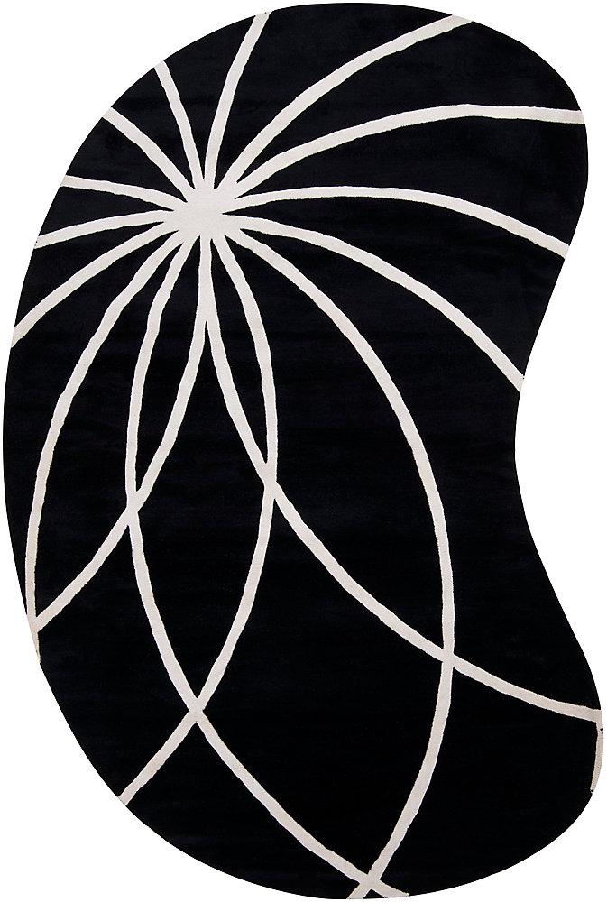 Oakura Black 8 Feet x 10 Feet Kidney Indoor Area Rug