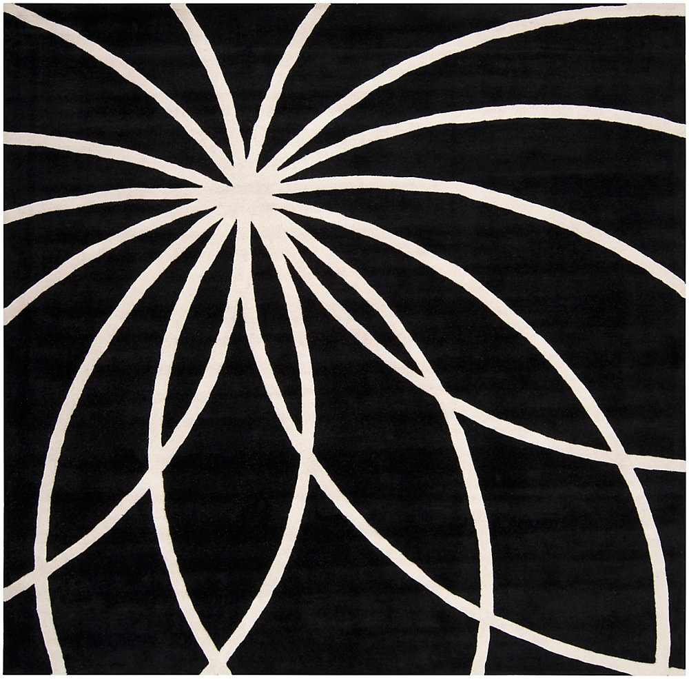 Oakura noir 9 ft. 9 in. X 9 ft. 9 in. carre tapis interieur