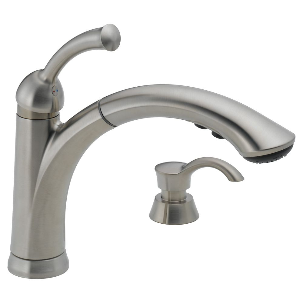 Delta Lewiston Single Handle Pull-Out Kitchen Faucet with Soap Dispenser, Stainless Steel
