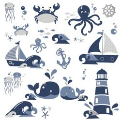 RoomMates Nautical Sea Friends Wall Decals