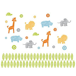 RoomMates Kathy Davis Animals on Parade Peel and Stick Wall Decals