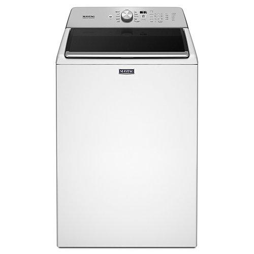Laveuse à chargement par le haut de 5,4 pi3 avec option de remplissage en profondeur et cycle de lavage à haute pression en blanc
