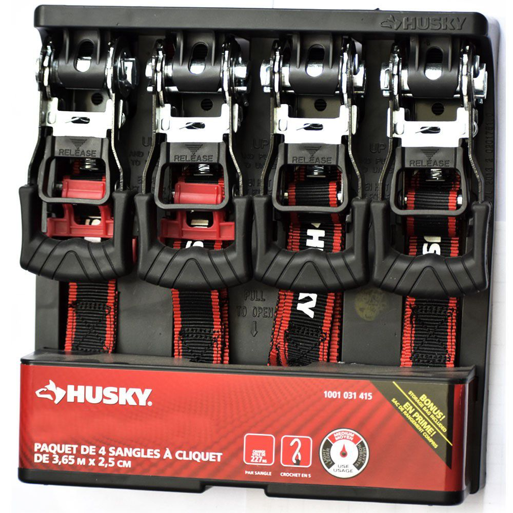 HUSKY 1-inch x 12 ft. Ratchet Tie-Down (4-Pack)