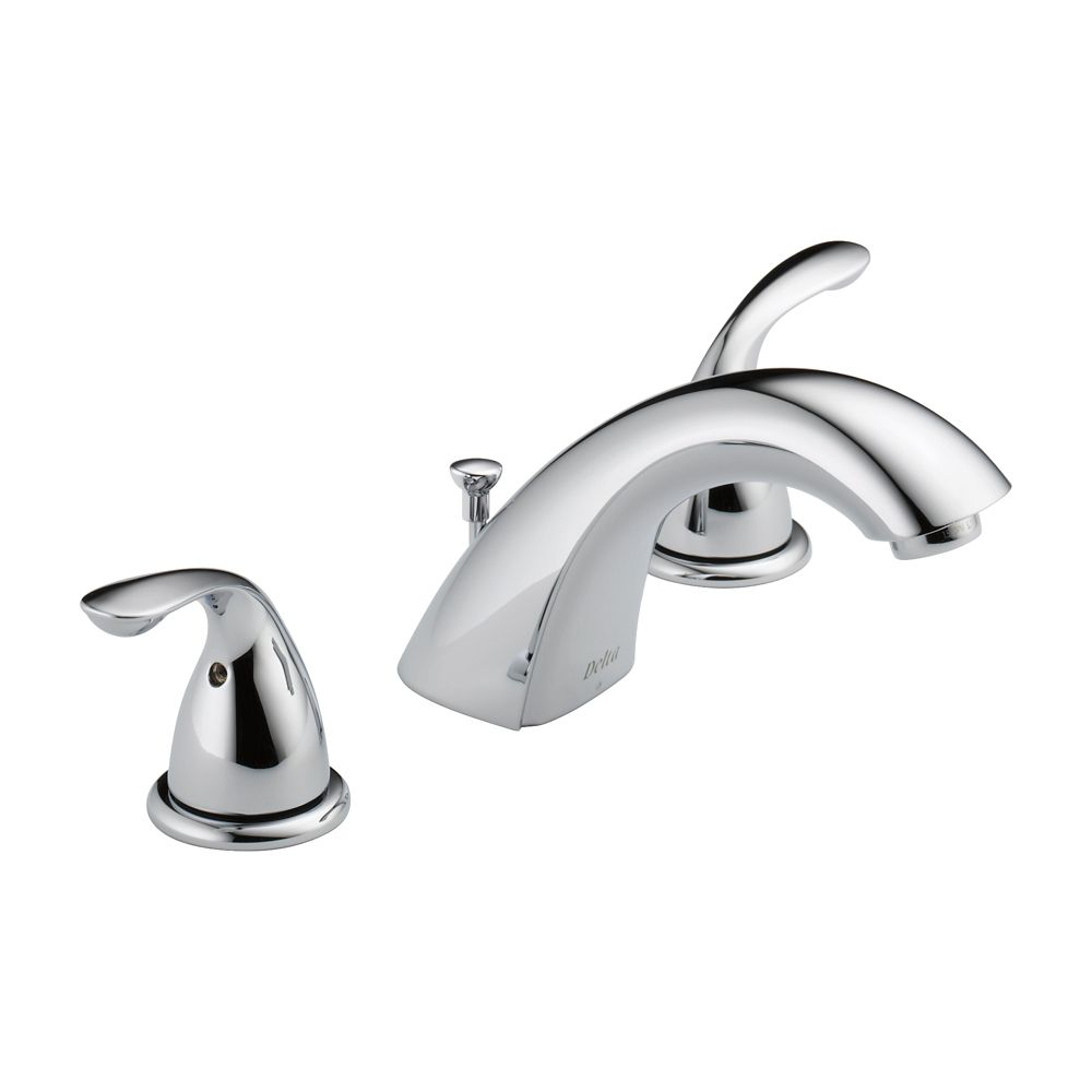 Classic Widespread (8-inch) 2-Handle Low Arc Bathroom Faucet in Chrome with Lever Handles