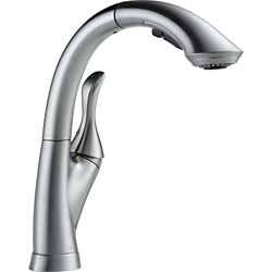 Delta Linden Single Handle Water-Efficient Pull-Out Kitchen Faucet, Arctic Stainless
