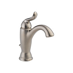 Linden Single Hole 1-Handle Mid Arc Bathroom Faucet in Stainless Steel with Lever Handle