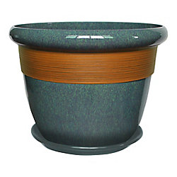 Hampton Bay 14 Inch Etched Stripe Planter Aqua Blue