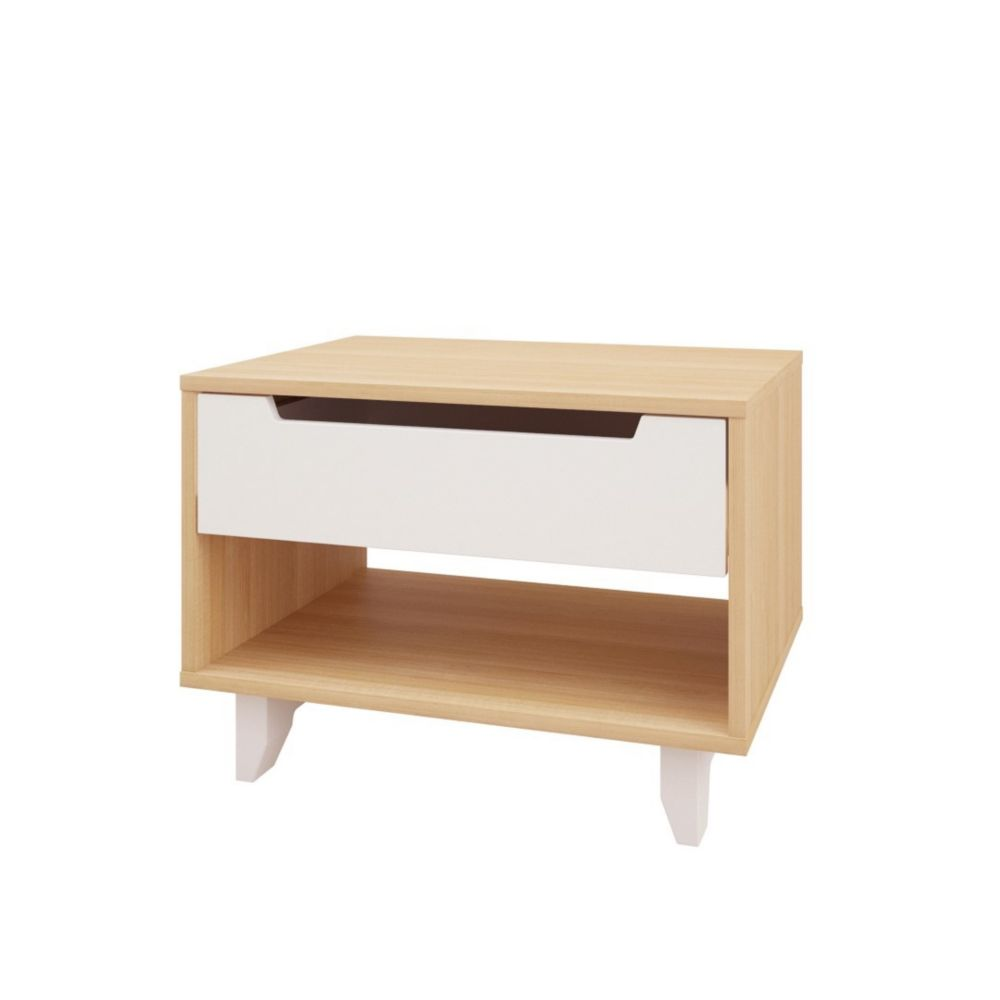 Nordik 340139 1-Drawer Night Stand, White and Natural Maple